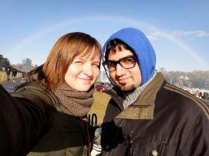 The rainbow magically appeared. Niagara.