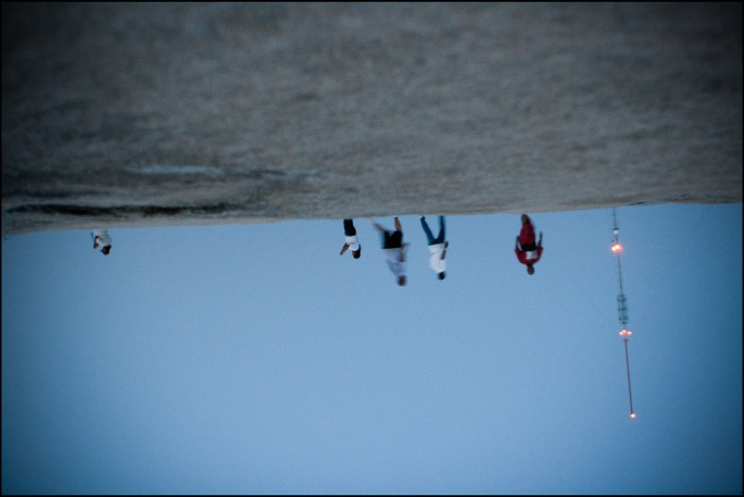 People walking, upside down photo